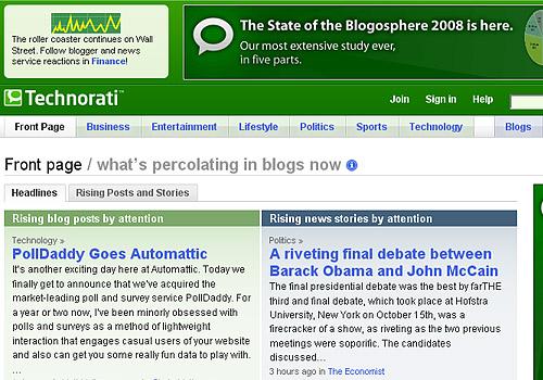 Google X Technorati - Mais Opções para Você Anunciar na Internet
