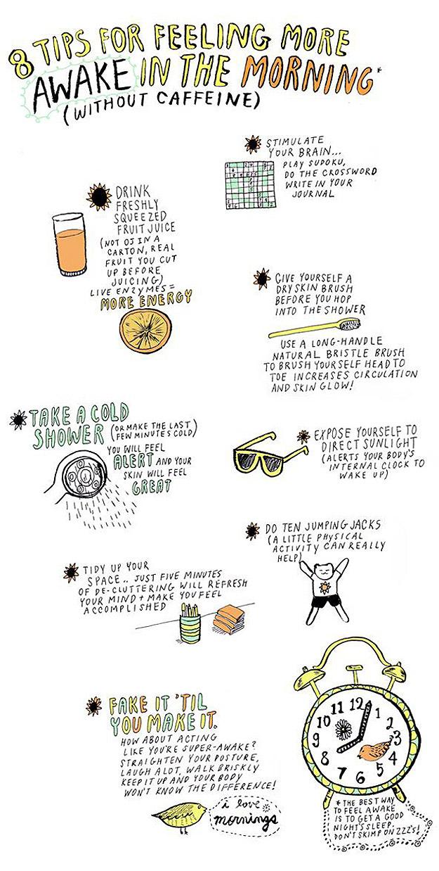 8 Dicas para se Sentir Mais Acordado Sem Café [Infográfico]