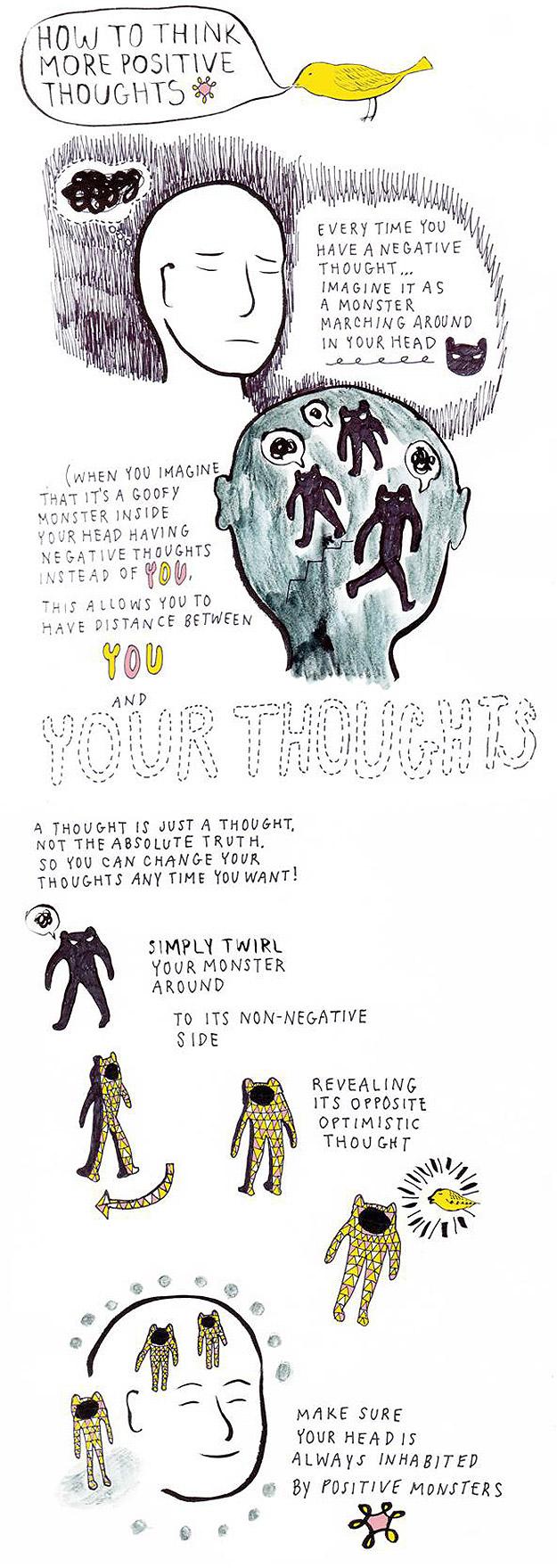 Como ter Pensamentos Mais Positivos [Infográfico]