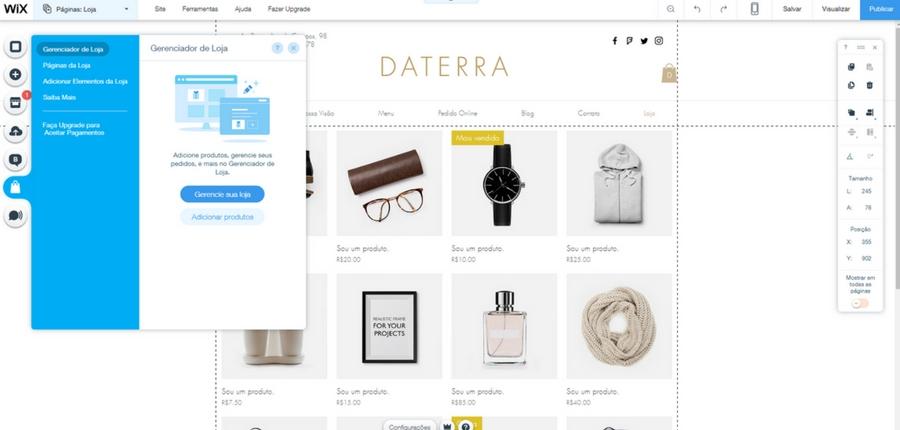 Editando e-Commerce Wix Stores